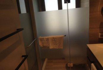 מקלחון עם זכוכית מט-חלבי